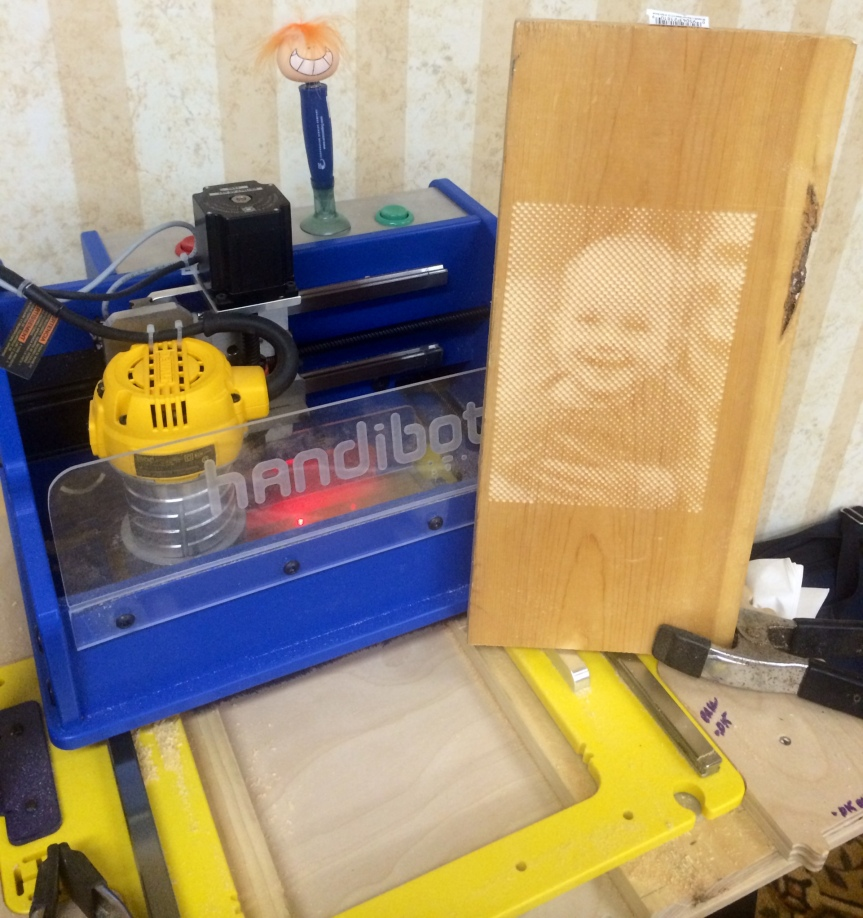 Halftone Photo made on a CNC Handibot